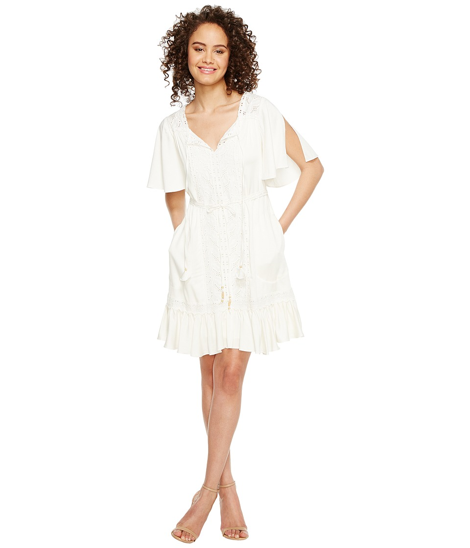 Hale Bob - Golden Haze Rayon Stretch Satin Woven Dress (Ivory) Women's Dress