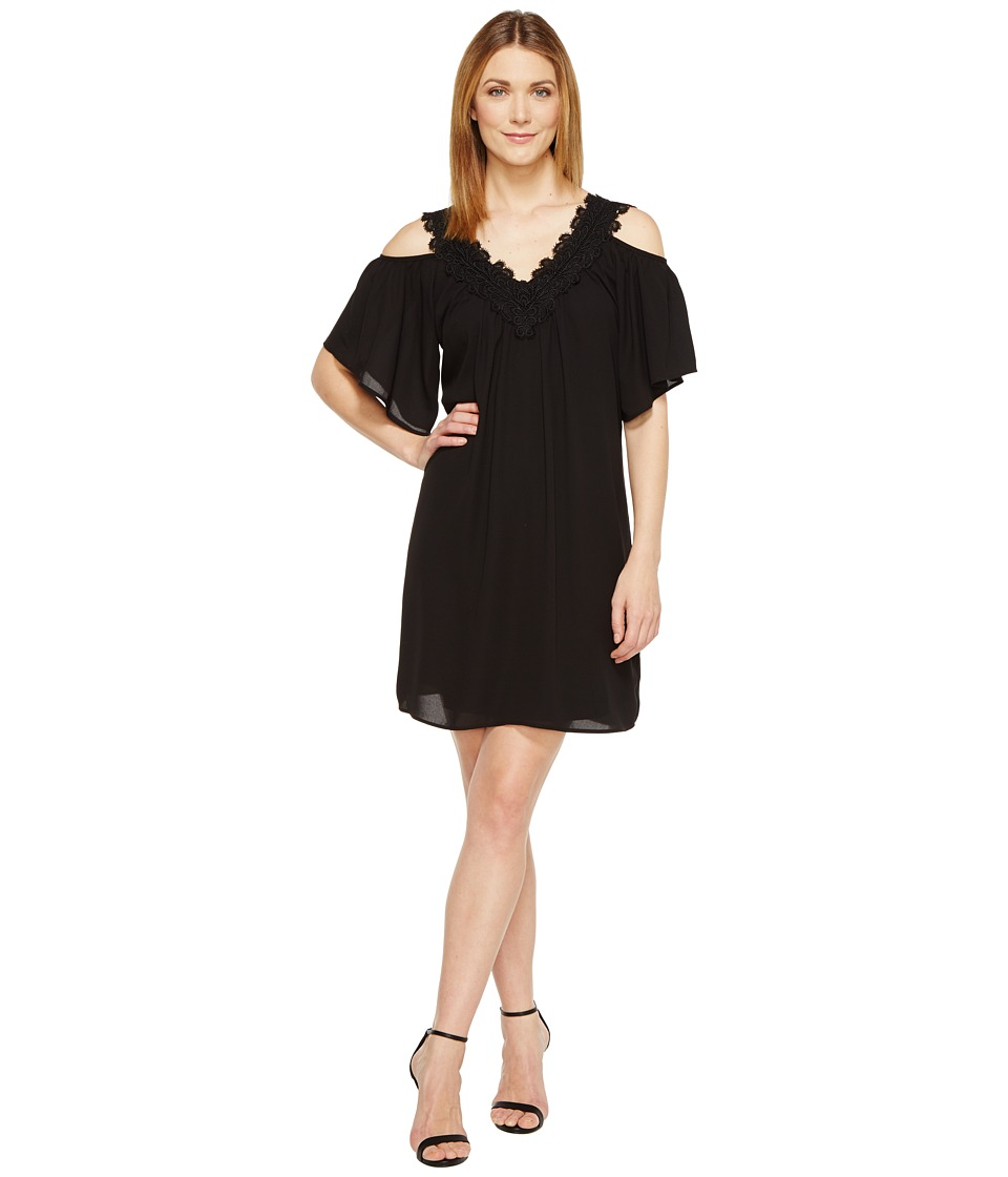 Karen Kane - Neck Trim Cold Shoulder Dress (Black) Women's Dress