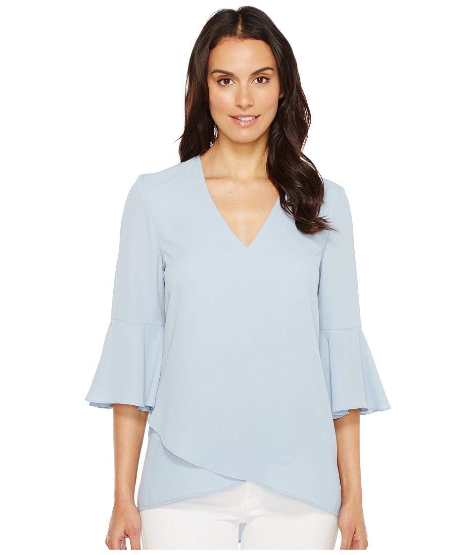 Karen Kane - Bell Sleeve Wrap Hem Top (Light Blue) Women's Clothing