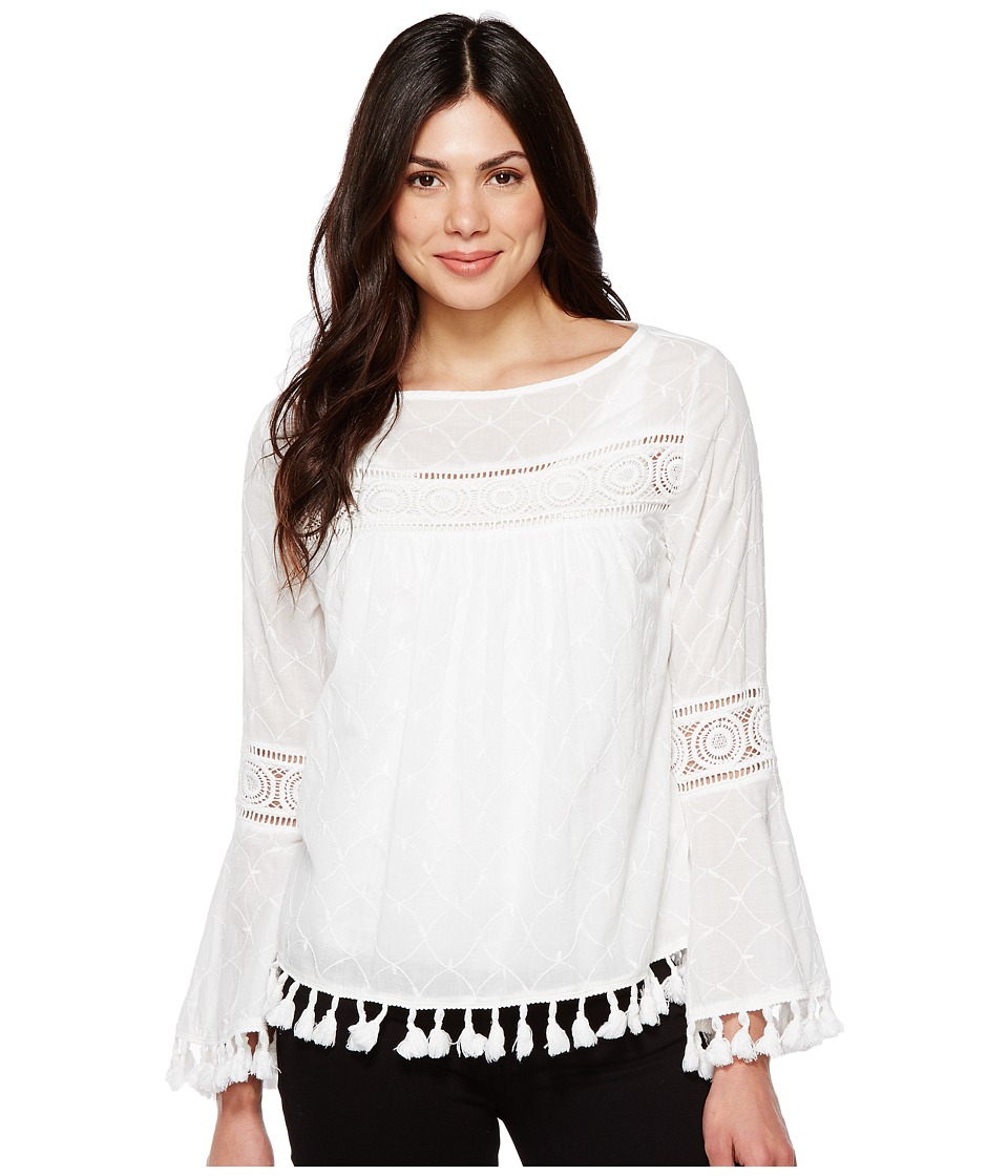 Karen Kane - Embroidered Tassel Top (Off-White) Women's Clothing