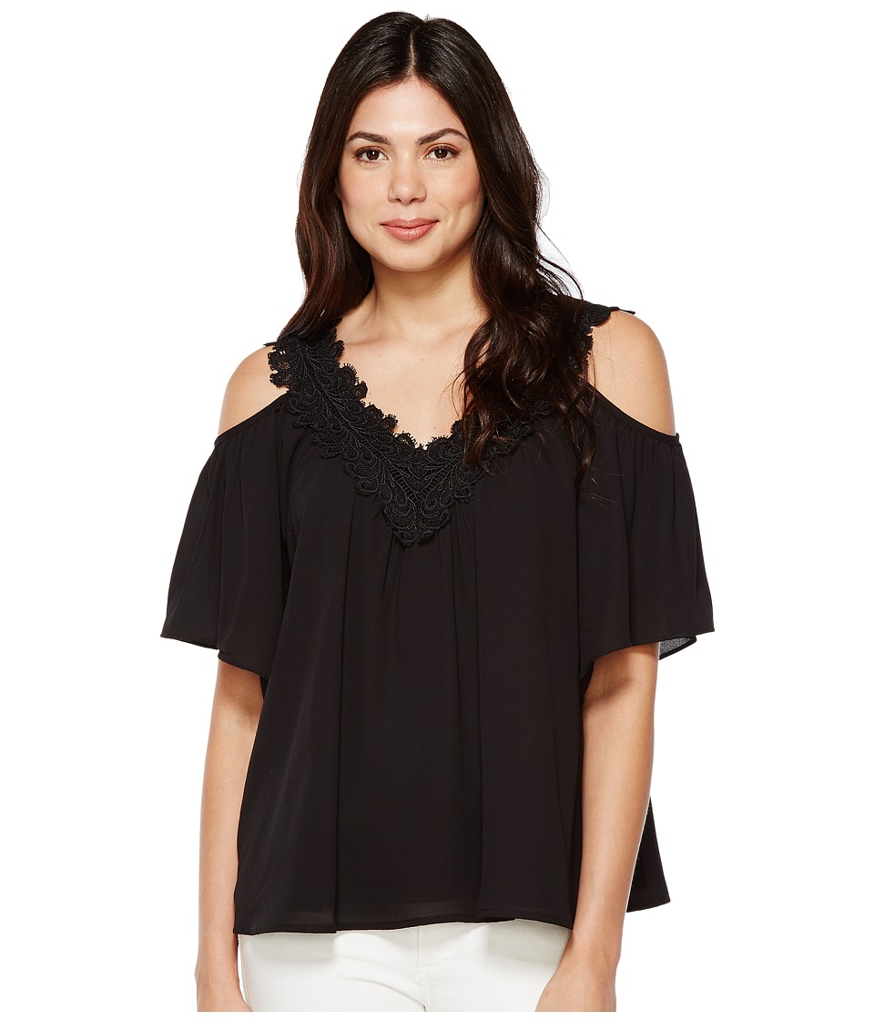 Karen Kane - Lace Trim Cold Shoulder Top (Black) Women's Clothing