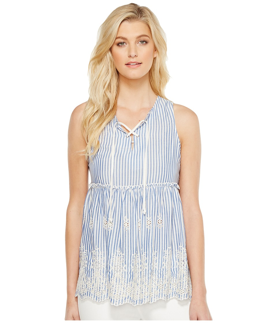 Karen Kane - Lace-Up Embroidered Sleeveless Top (Blue) Women's Clothing