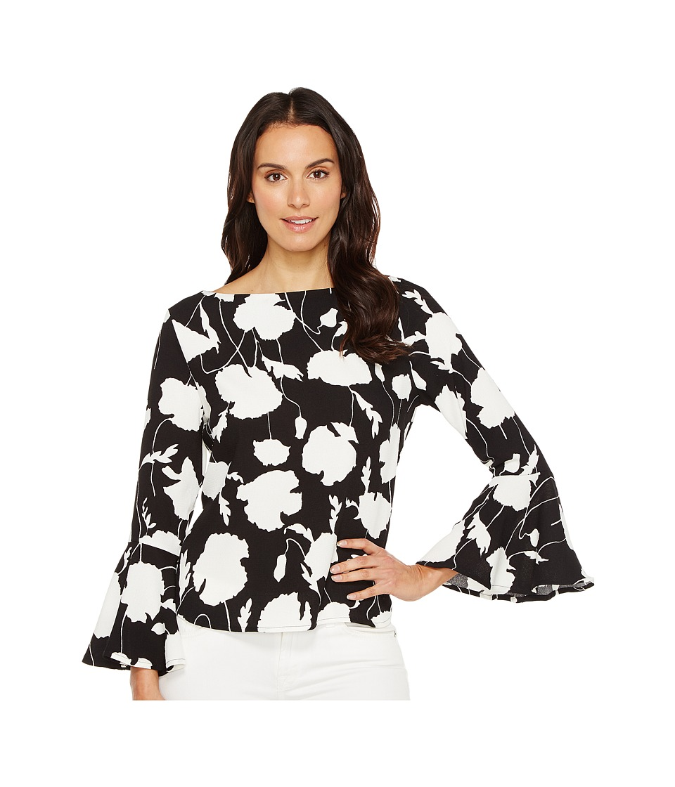 Karen Kane - Crop Flare Sleeve Top (Black/Off-White) Women's Clothing