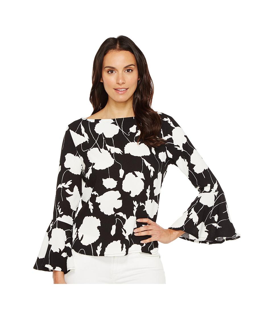 Karen Kane - Crop Flare Sleeve Top (Black/Off-White) Women's Clothing