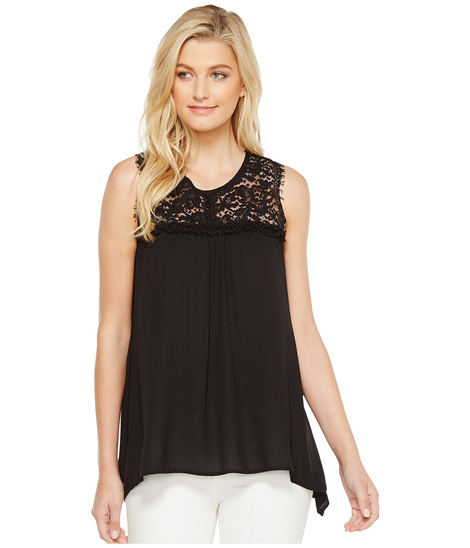 Karen Kane - Lace Yoke Handkerchief Top (Black) Women's Clothing