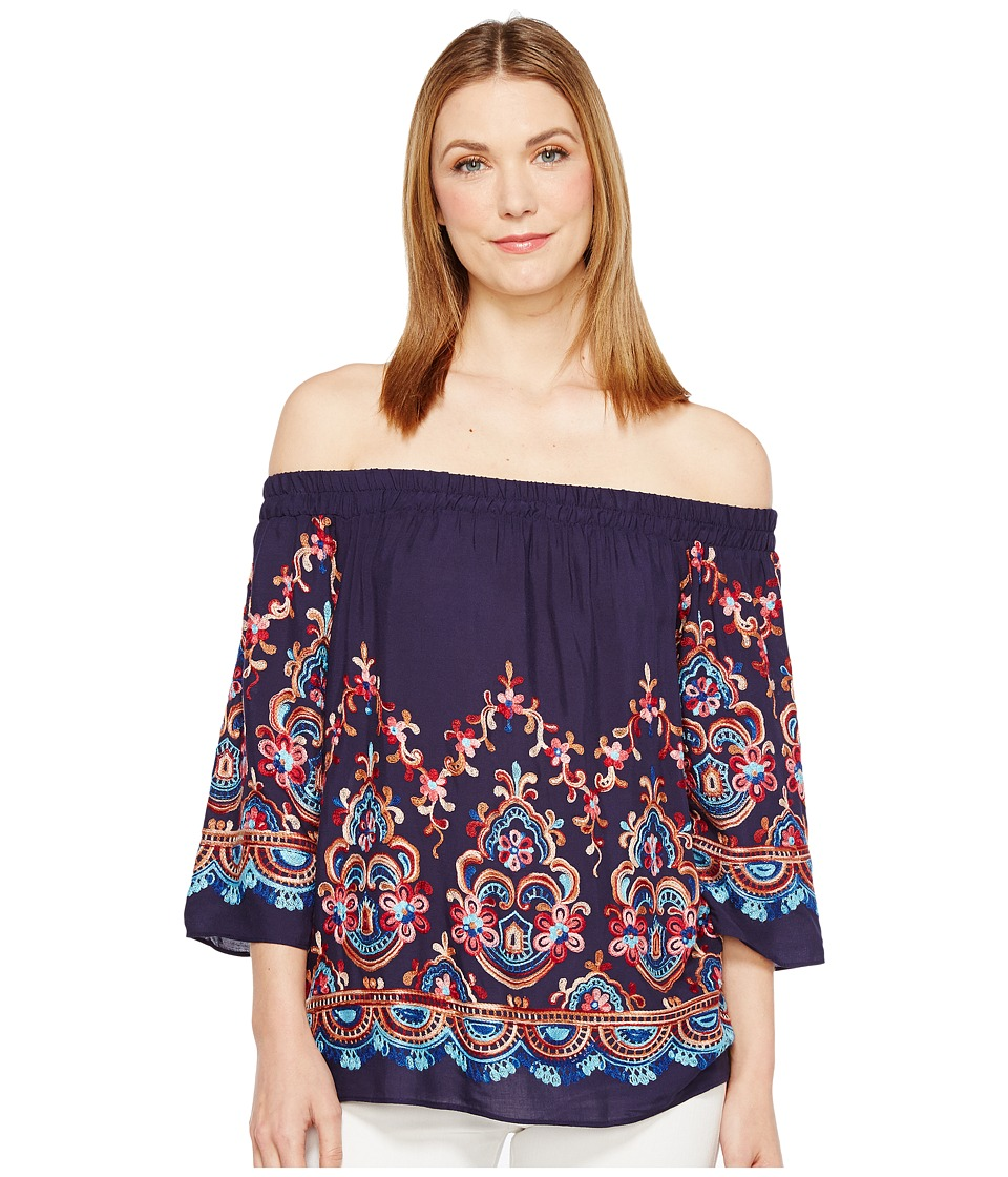 Karen Kane - Embroidered Off the Shoulder Top (Navy) Women's Clothing