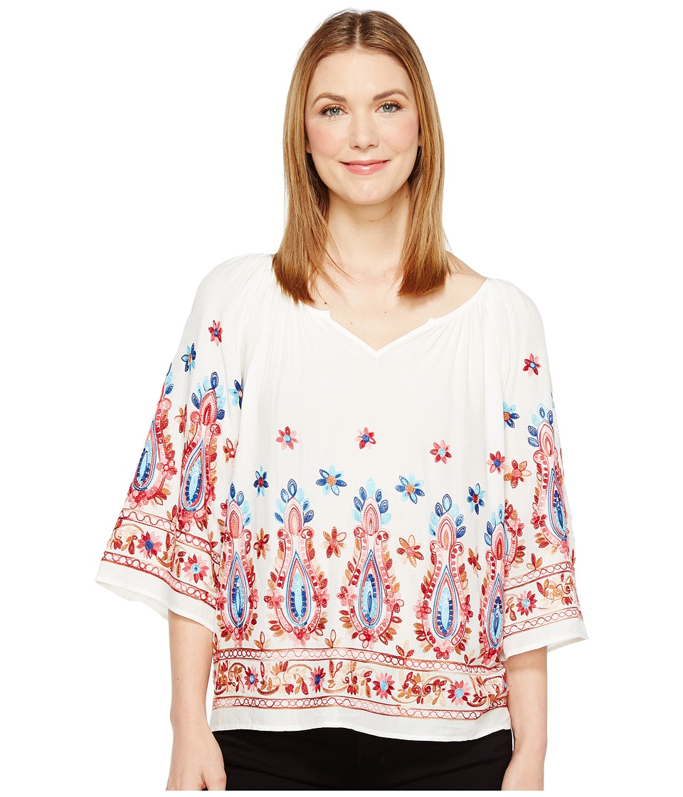Karen Kane - Embroidered Split Neck Top (Off-White) Women's Clothing
