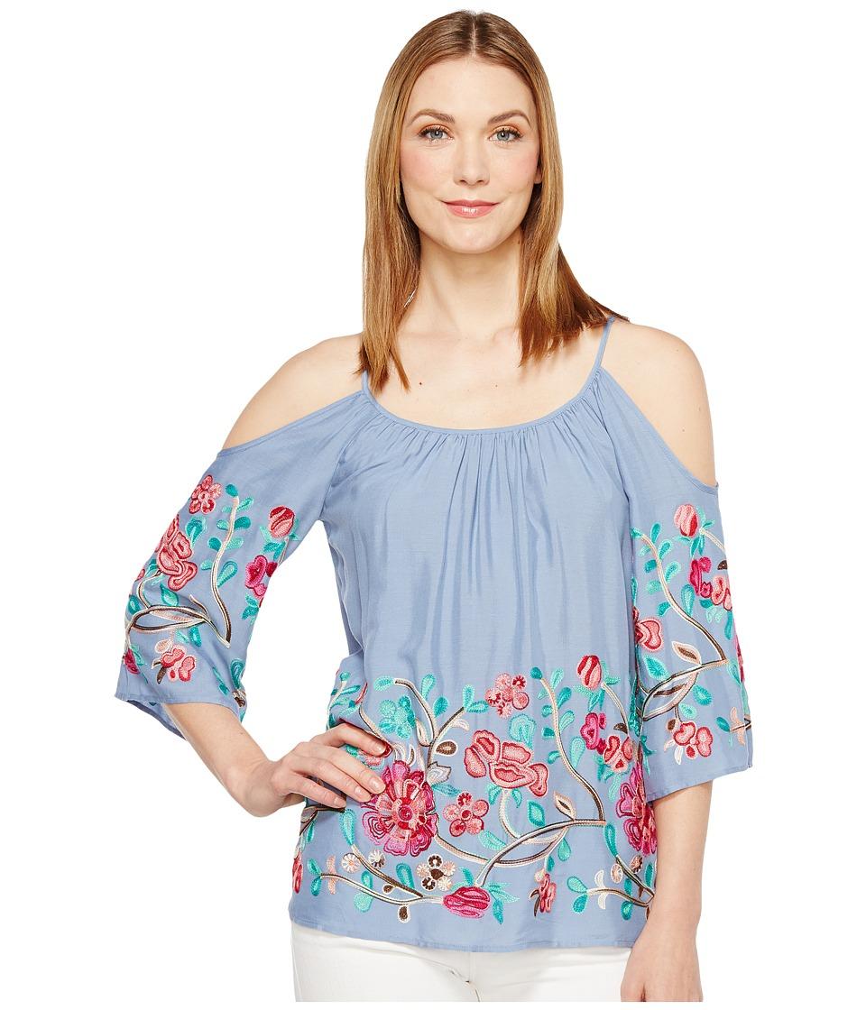 Karen Kane - Embroidered Cold Shoulder Top (Blue) Women's Clothing