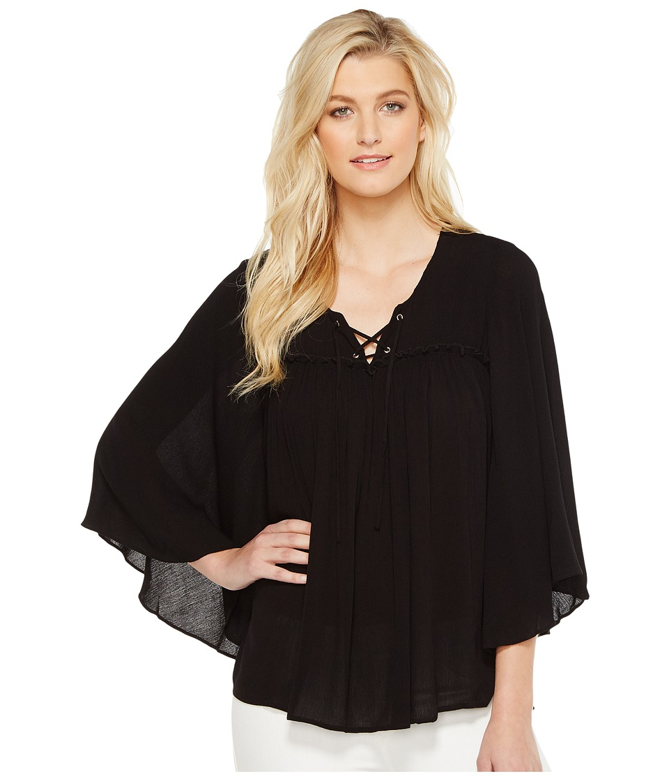 Karen Kane - Lace-Up Bell Sleeve Top (Black) Women's Clothing