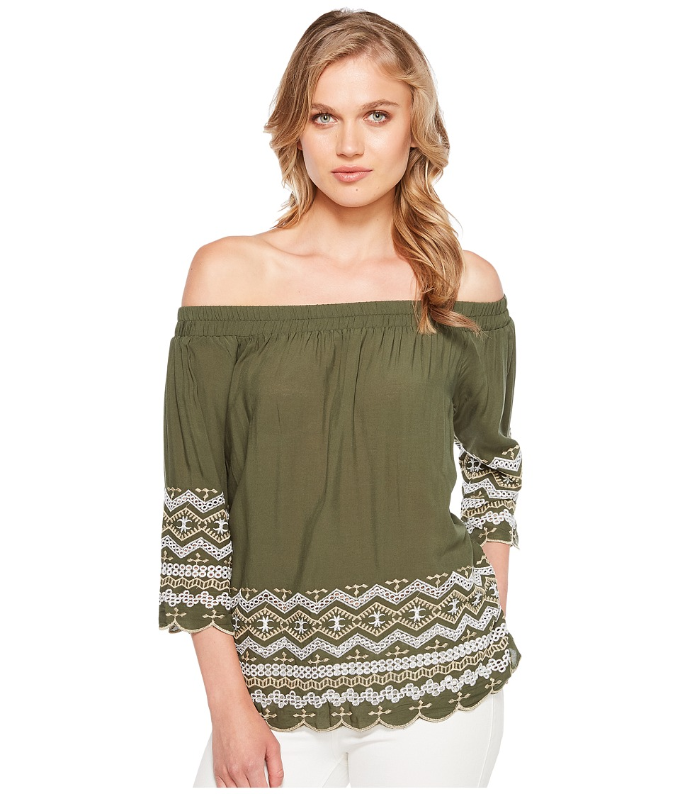 Karen Kane - Off the Shoulder Embroidery Top (Olive) Women's Clothing