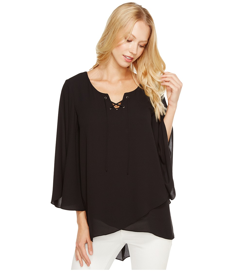 Karen Kane - Crossover Flare Sleeve Top (Black) Women's Clothing