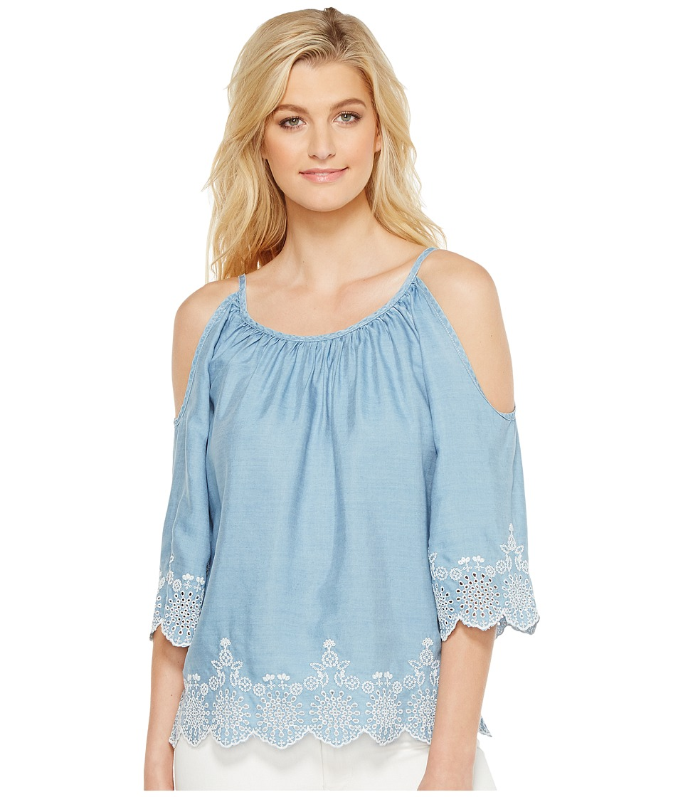 Karen Kane - Embroidered Cold Shoulder Top (Chambray) Women's Clothing