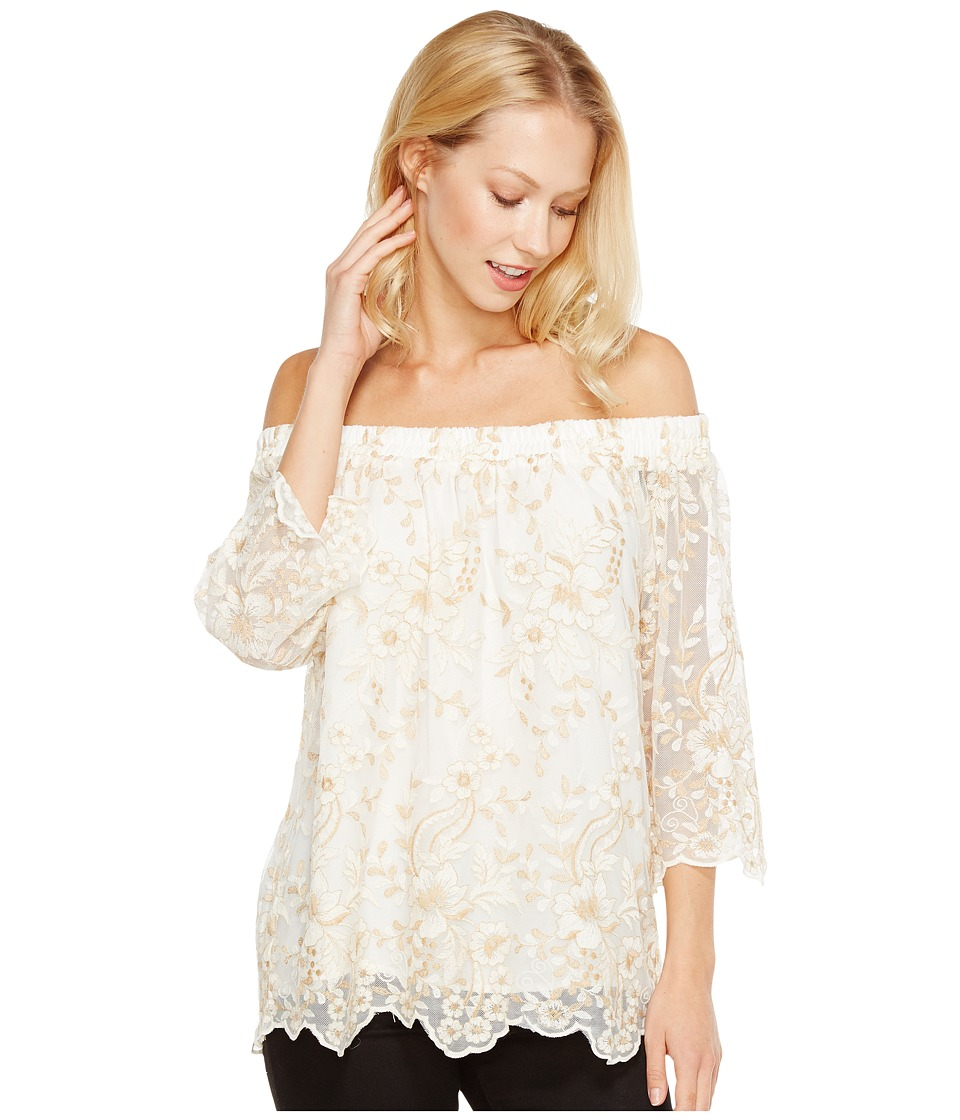 Karen Kane - Off the Shoulder Embroidery Top (Cream) Women's Clothing
