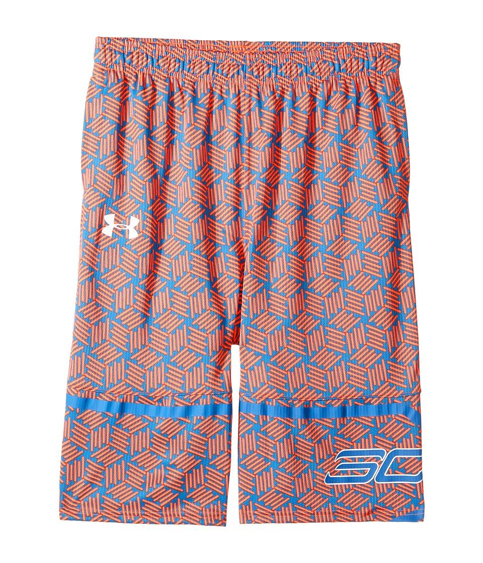 Under Armour Kids - Steph Curry 30 Printed Spear Shorts (Big Kids) (Magma Orange/Mako Blue) Boy's Shorts