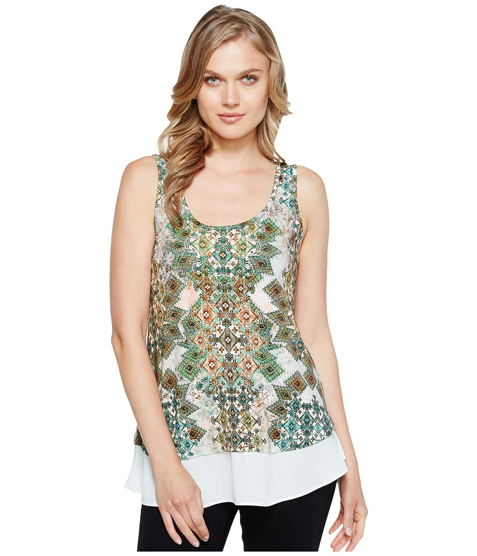 Karen Kane - Combo Sheer Hem Tank Top (Print) Women's Clothing