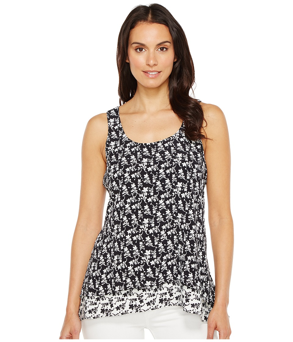 Karen Kane - Contrast Floral Hem Tank Top (Black/Off-White) Women's Clothing