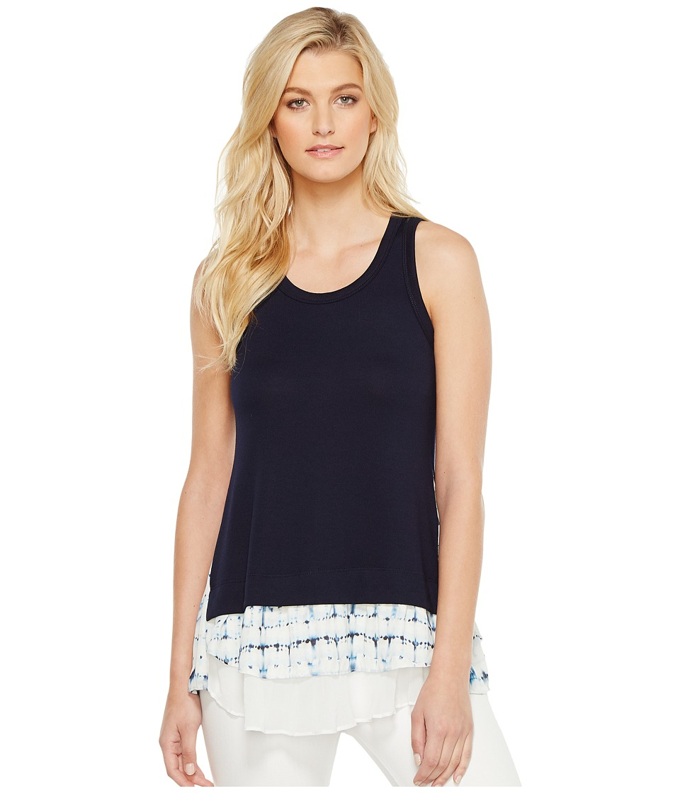 Karen Kane - Tie-Dye Print Inset Tank Top (Navy) Women's Clothing