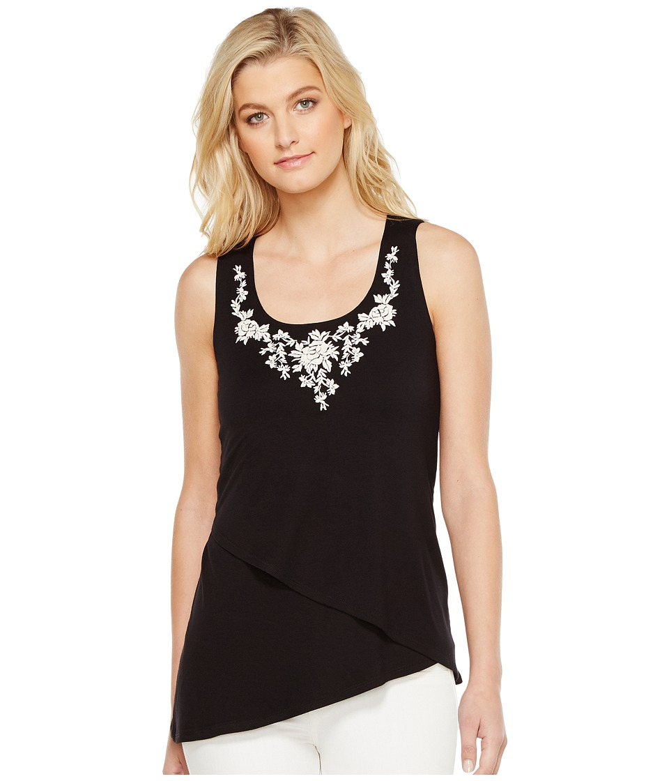 Karen Kane - Asymmetric Embroidered Tank Top (Black) Women's Clothing