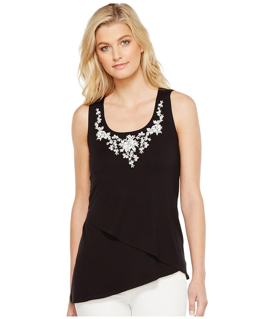 Karen Kane - Asymmetric Embroidered Tank Top (Black) Women's Clothing