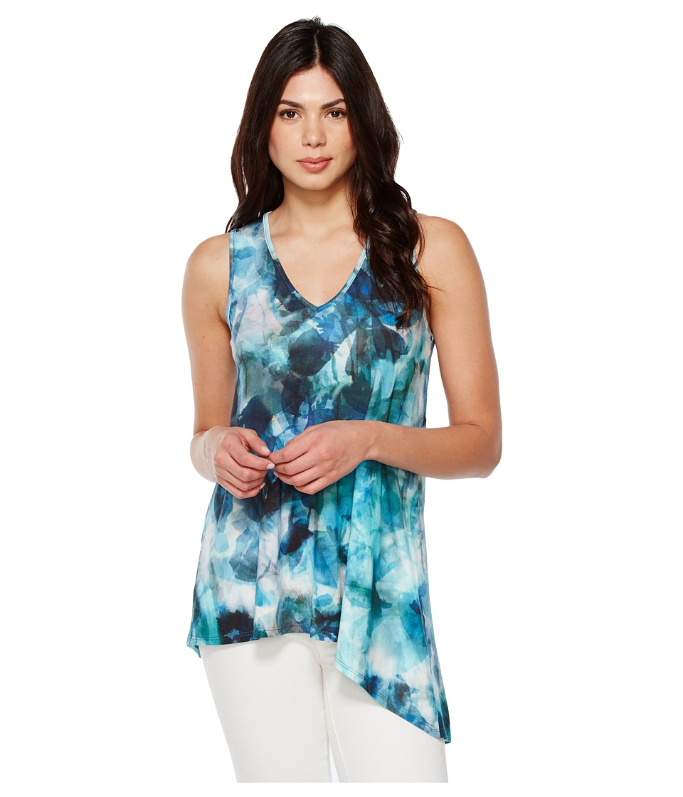 Karen Kane - Sea Glass Asymmetric Tank Top (Print) Women's Clothing