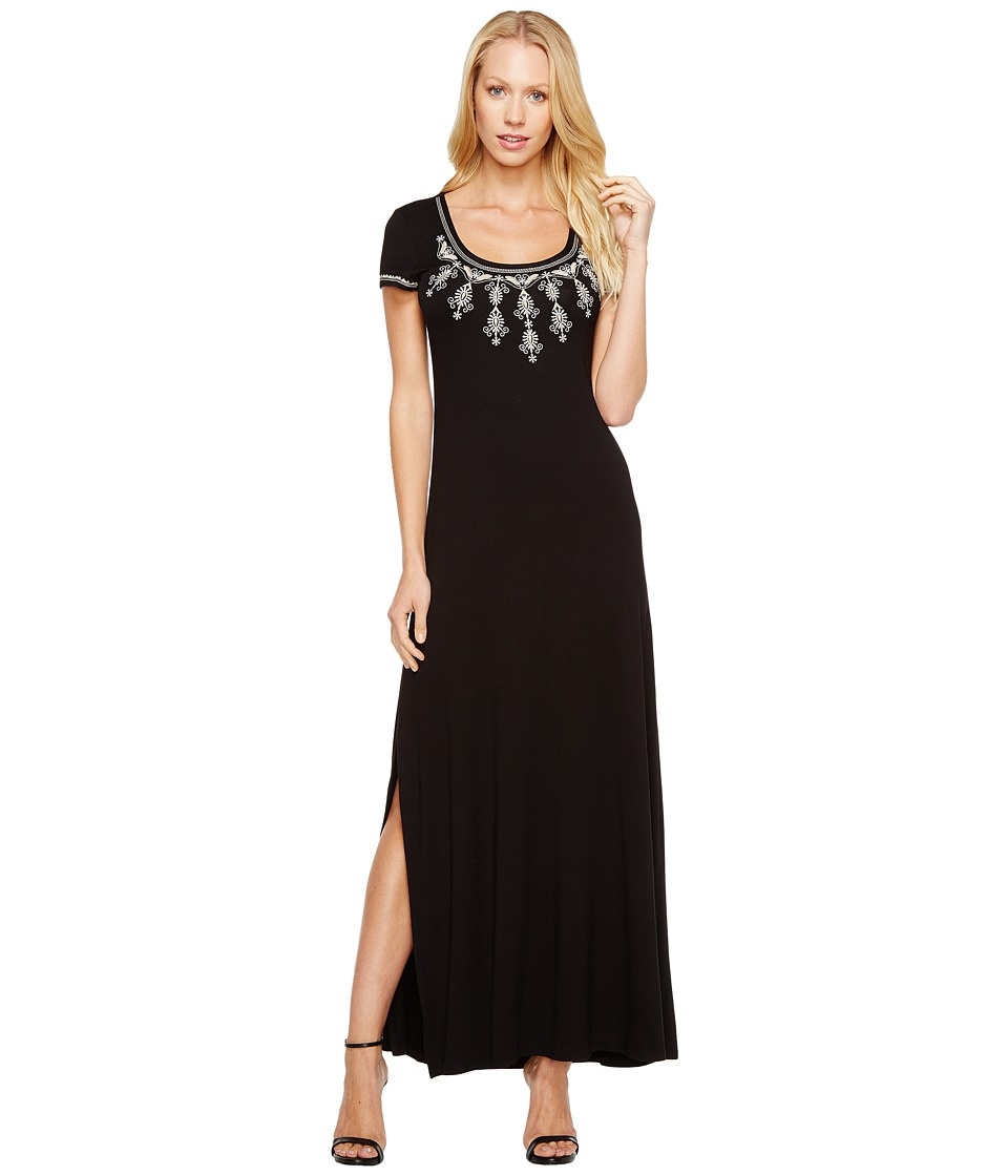 Karen Kane - Embroidered Cap Sleeve Maxi Dress (Black) Women's Dress