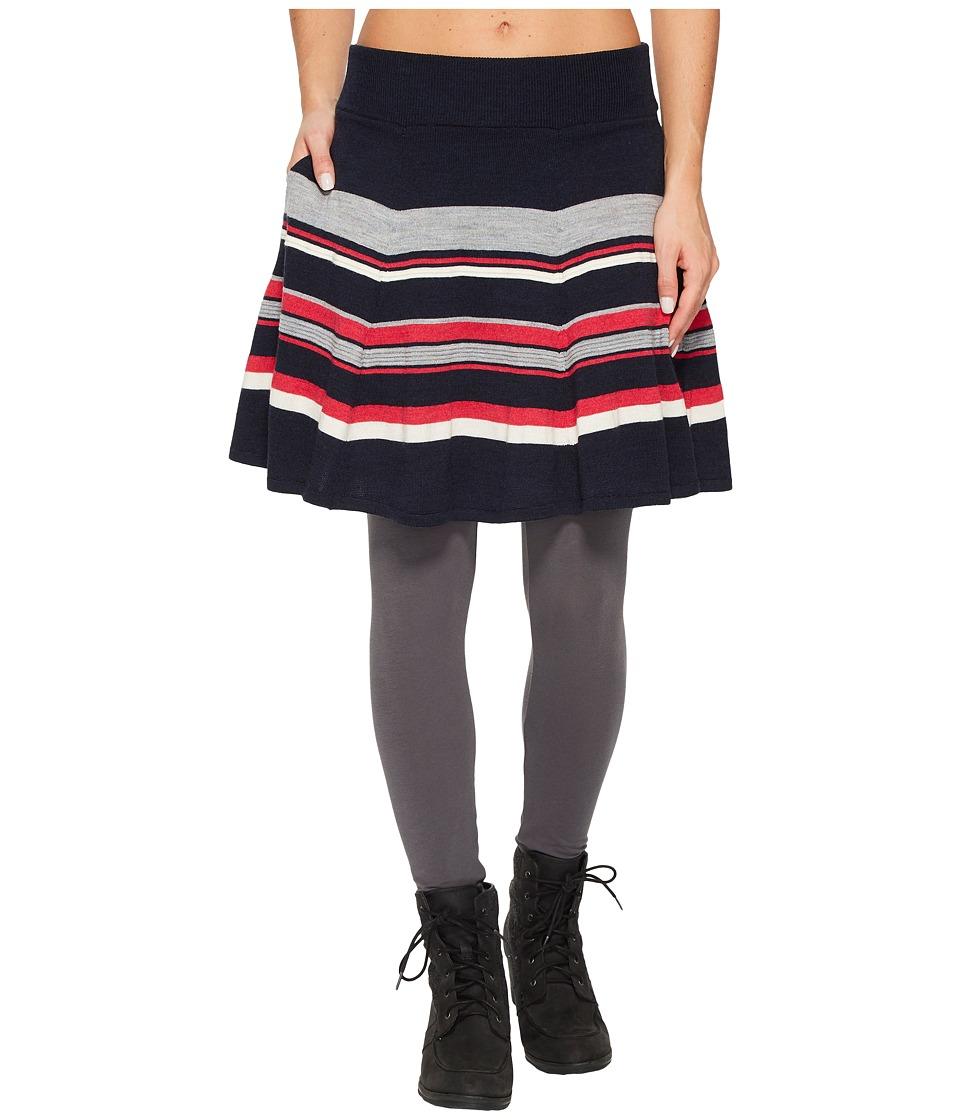 Smartwool Cascade Valley Stripe Skater Skirt (Deep Navy) Women
