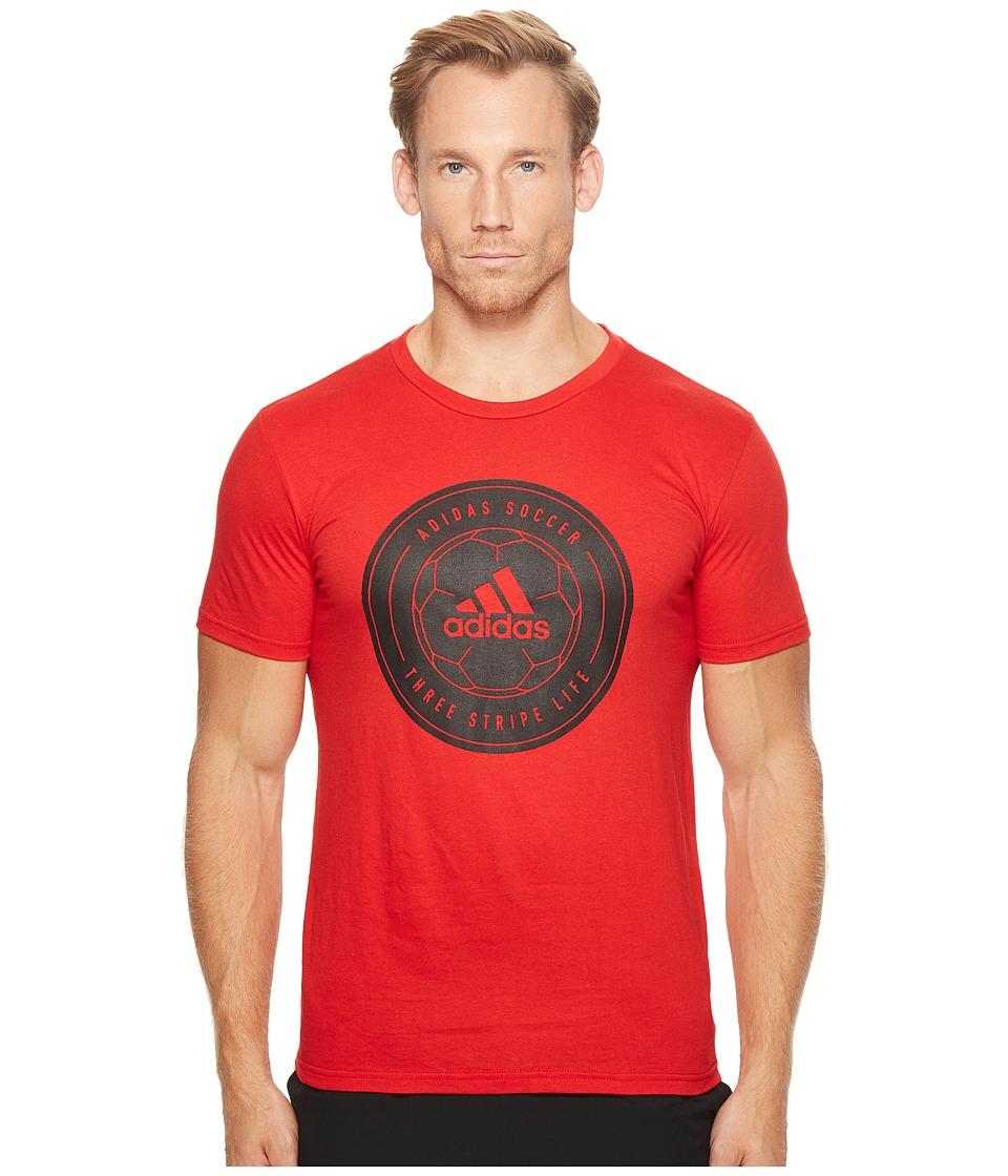 adidas - Soccer Crest Tee (Scarlet/Black) Men's T Shirt