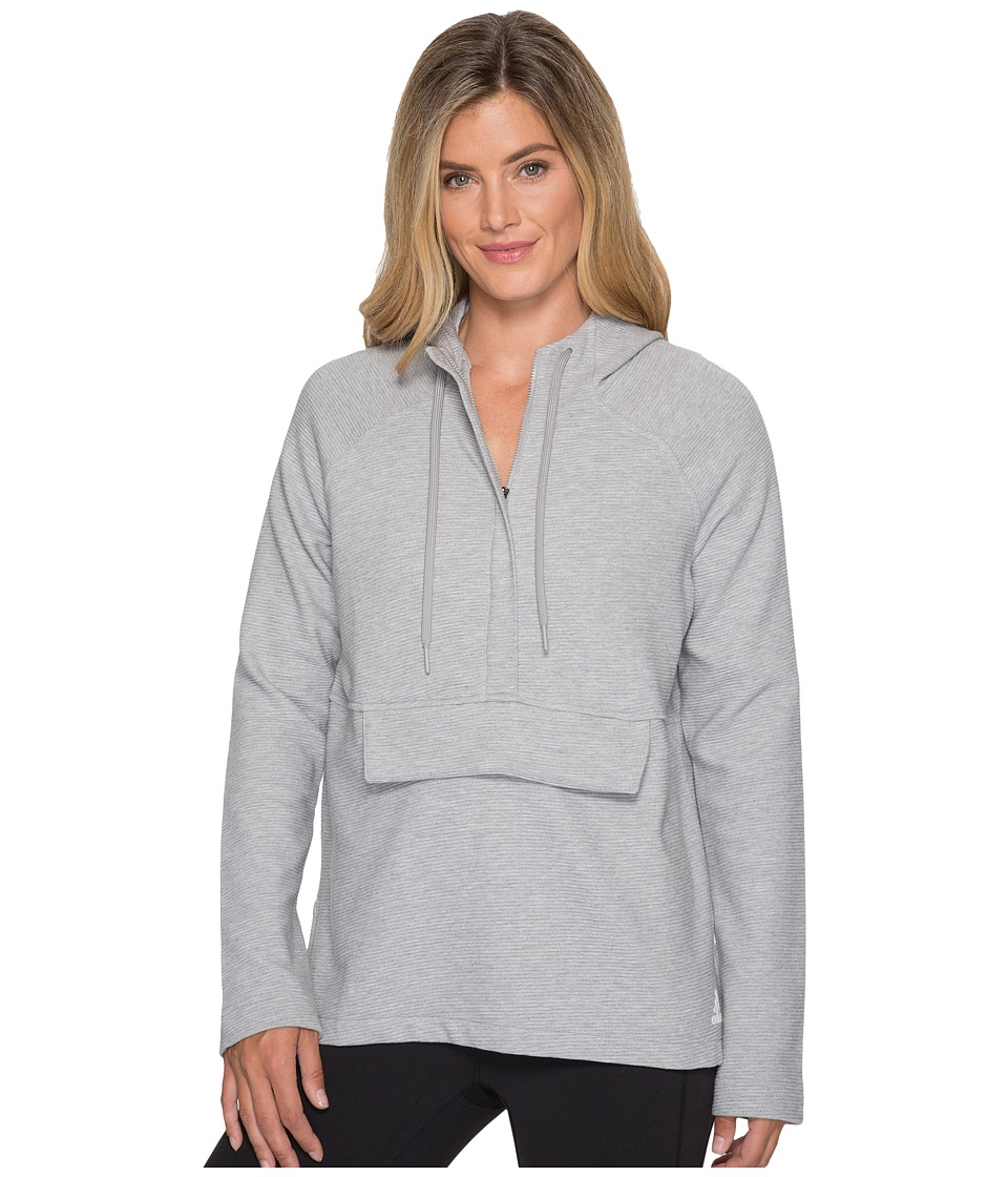 adidas - Fleece Full Zip Hoodie (Medium Grey Heather) Women's Sweatshirt