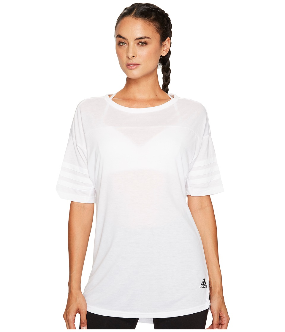 adidas - Short Sleeve Layering Top (White) Women's Short Sleeve Pullover