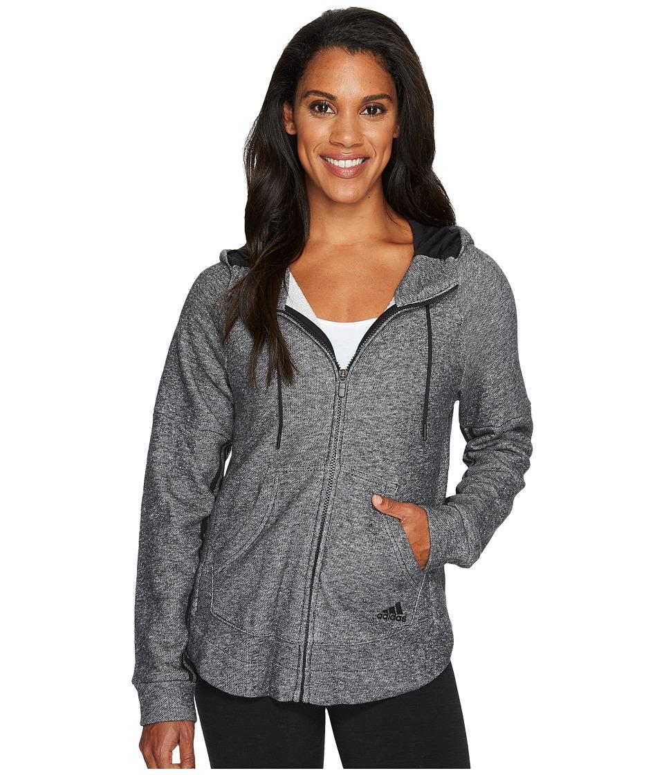 adidas - Sport2Street Full Zip Hoodie (Black Melange) Women's Sweatshirt