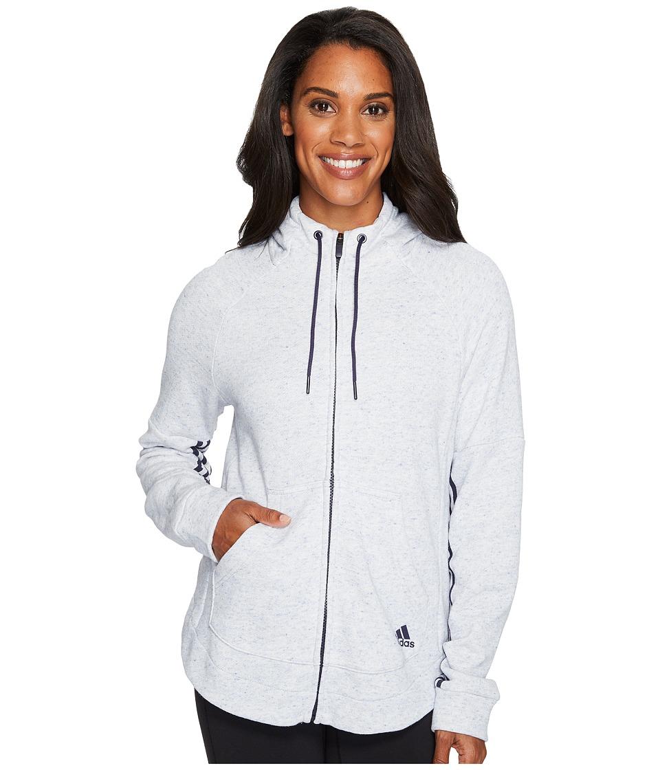 adidas - Sport2Street Full Zip Hoodie (Mystery Ink Melange) Women's Sweatshirt