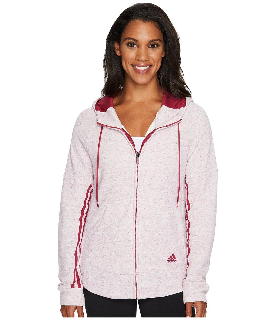 adidas - Sport2Street Full Zip Hoodie (Mystery Ruby Melange) Women's Sweatshirt