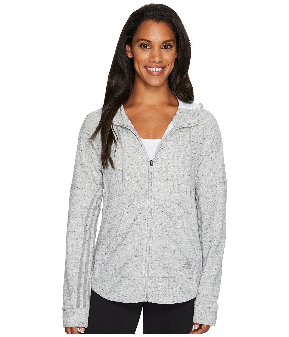 adidas - Sport2Street Full Zip Hoodie (Medium Grey Heather) Women's Sweatshirt