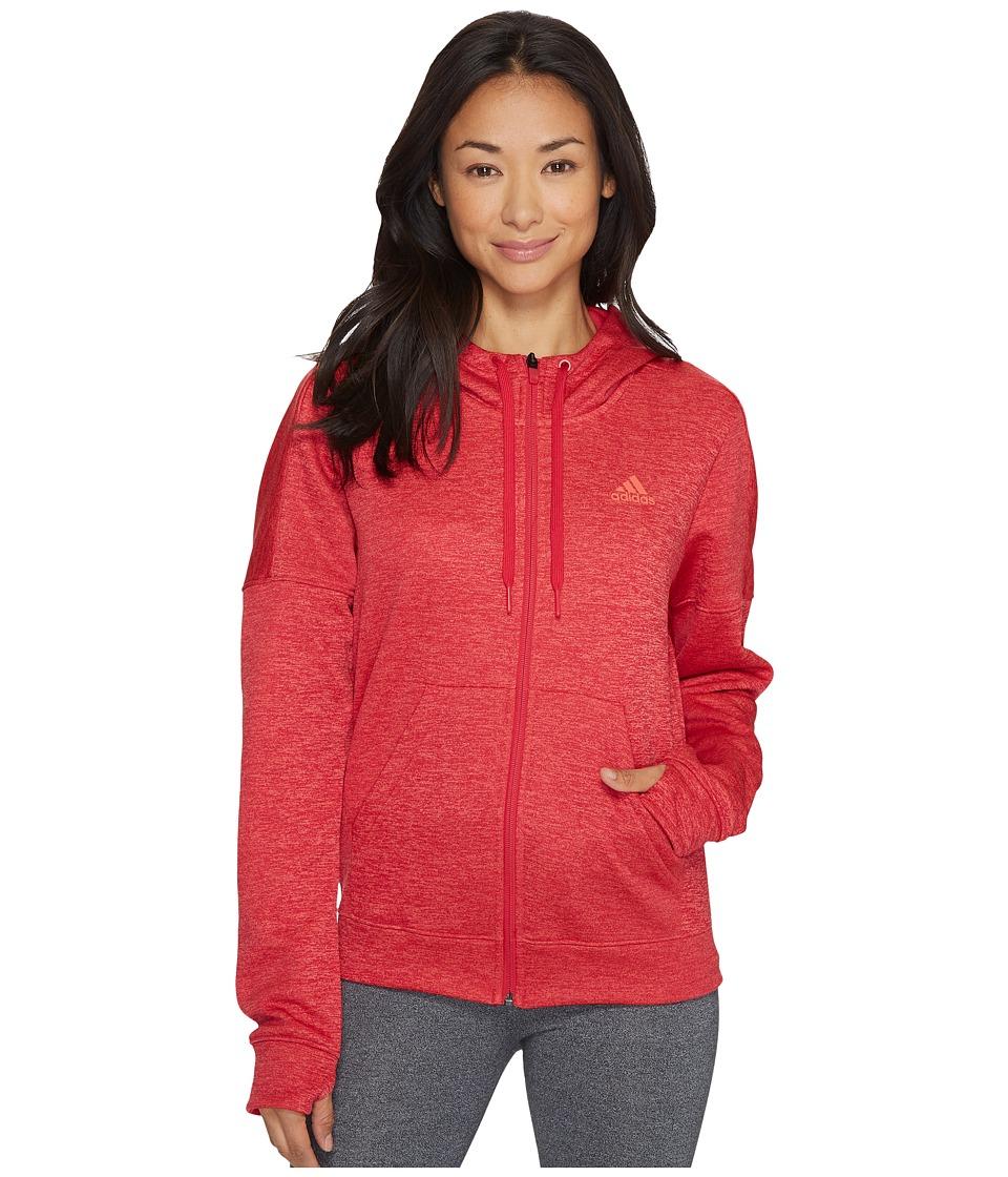 adidas Team Issue Fleece Full Zip Hoodie (Energy Pink Melange) Women