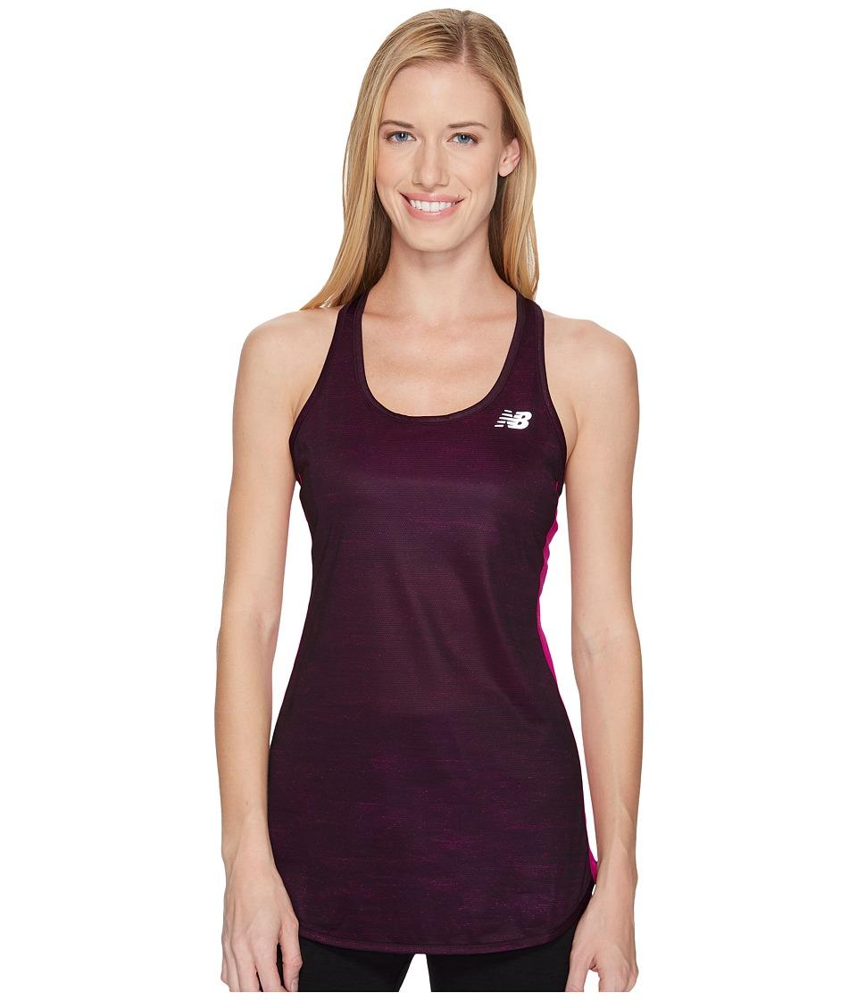 New Balance - Accelerate Tank Printed (Poisonberry Heat Waves) Women's Sleeveless