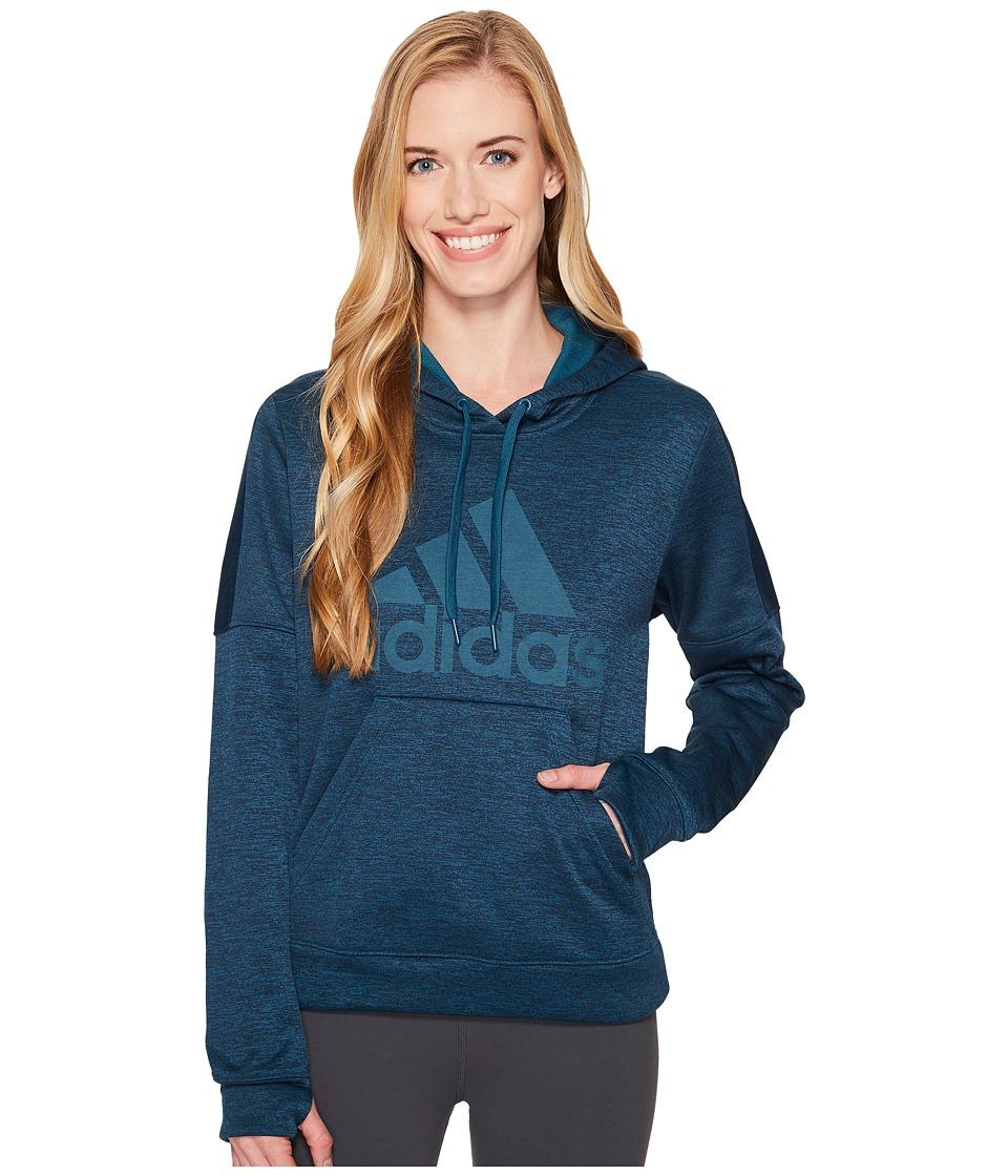 adidas Team Issue Fleece Pullover Logo Hoodie (Petrol Night Melange/Petrol Night Melange/Petrol Night) Women
