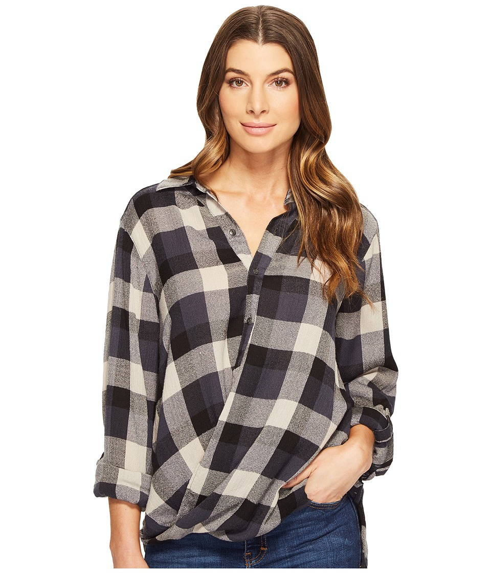 Blank NYC - Multi Plaid Drape Front Shirt in Black Watch (Black Watch) Women's T Shirt