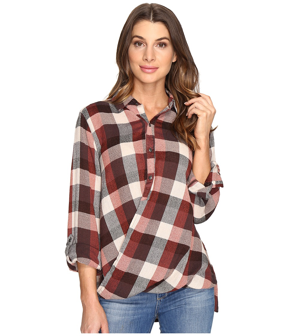Blank NYC - Multi Plaid Drape Front Shirt in Whiskey Brown (Whiskey Brown) Women's T Shirt