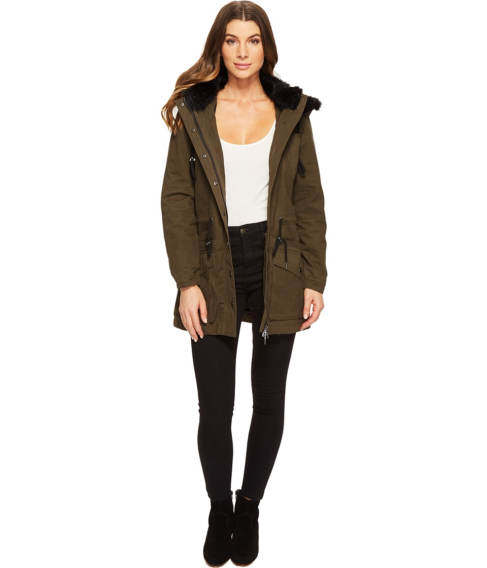 Blank NYC - Parka Jacket with Faux Fur on Hood in Stoners Paradise (Stoners Paradise) Women's Coat