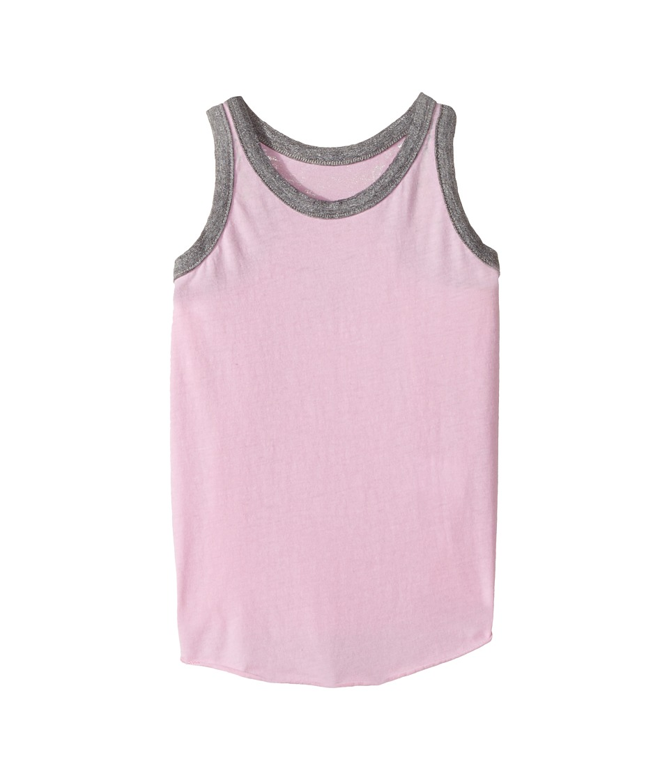 Chaser Kids - Vintage Jersey Tank (Toddler/Little Kids) (Bubble Gum/White) Girl's Sleeveless