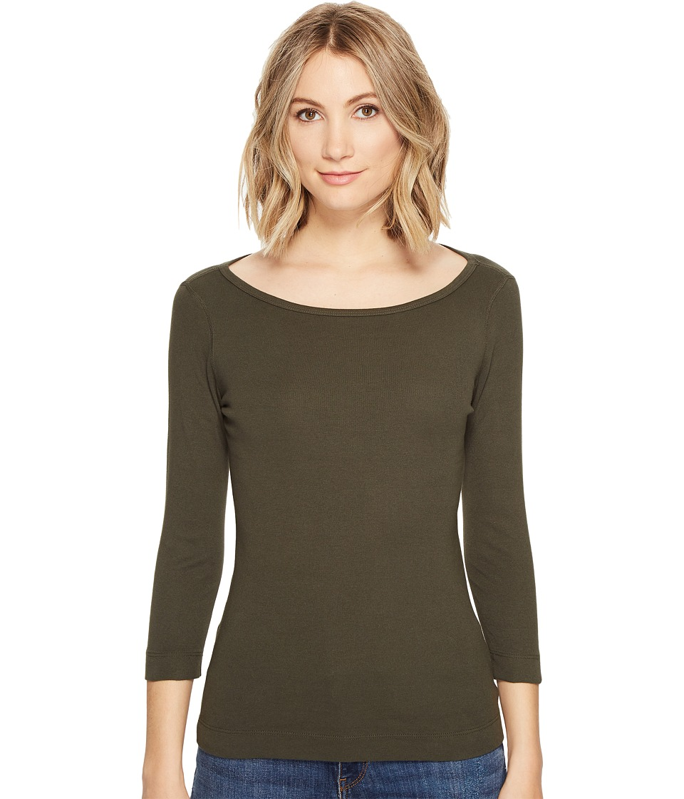 Three Dots Essential British Neck 3/4 Sleeve Top (Tapenade) Women's Clothing