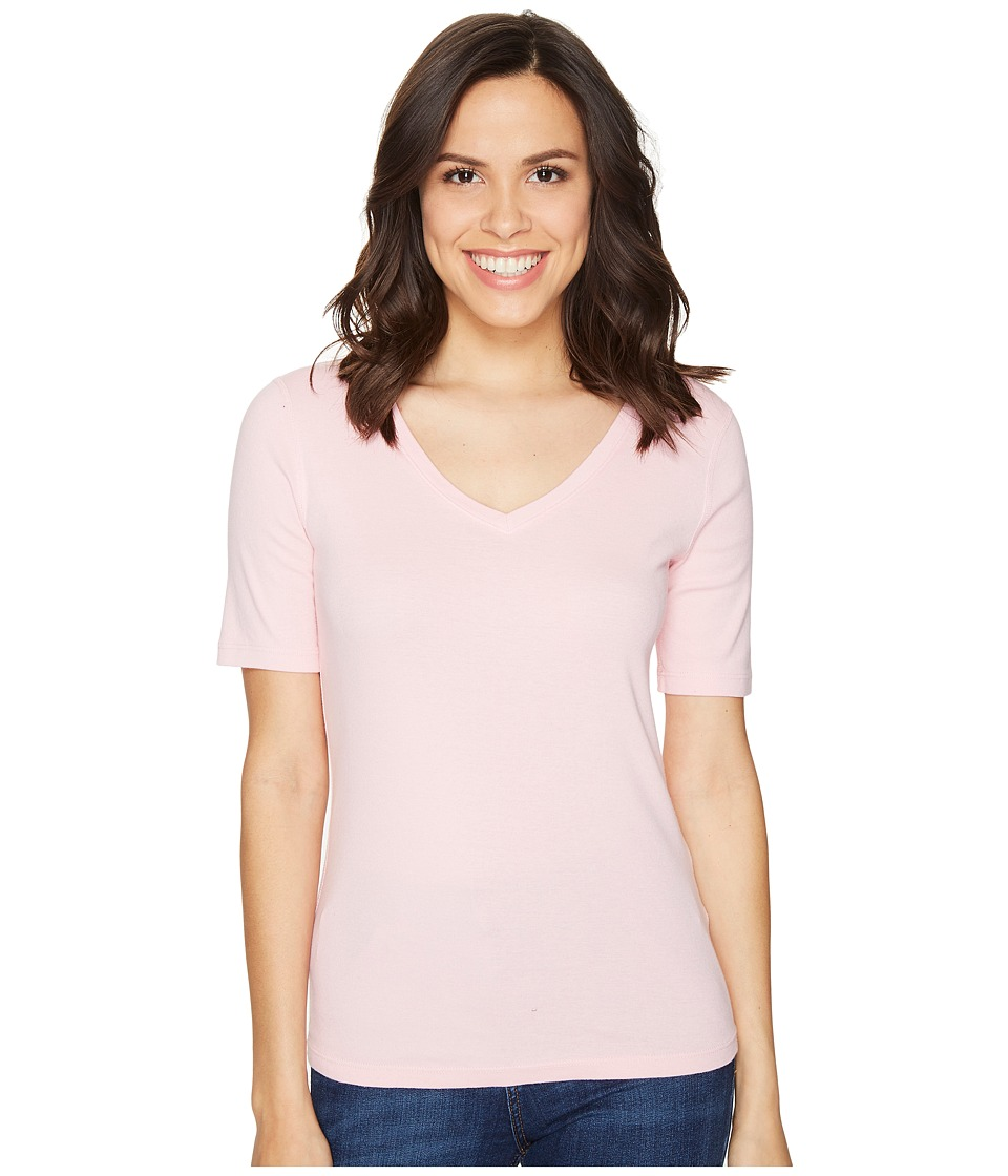 Three Dots - 9 Sleeve V-Neck (Twilight Pink) Women's Short Sleeve Pullover