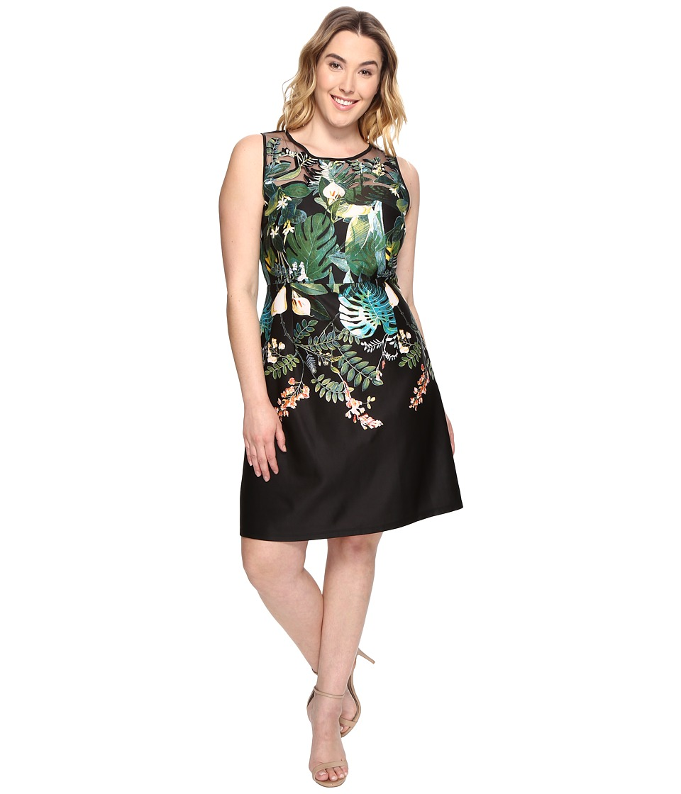 Adrianna Papell - Plus Size Leafy Oasis Scuba A-Line Dress with Laser Cut Neckline (Black Multi) Women's Dress
