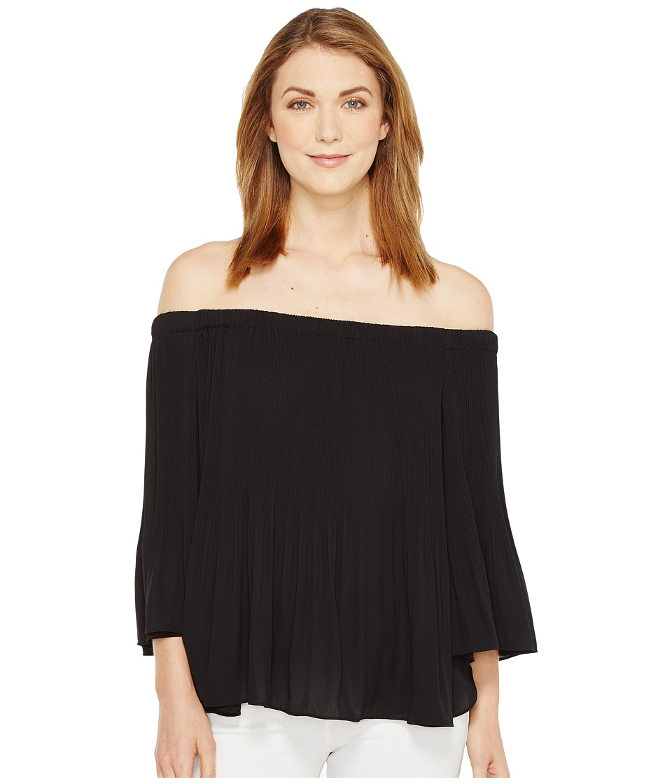 Vince Camuto - Three-Quarter Sleeve Pleated Off Shoulder Blouse (Rich Black) Women's Blouse