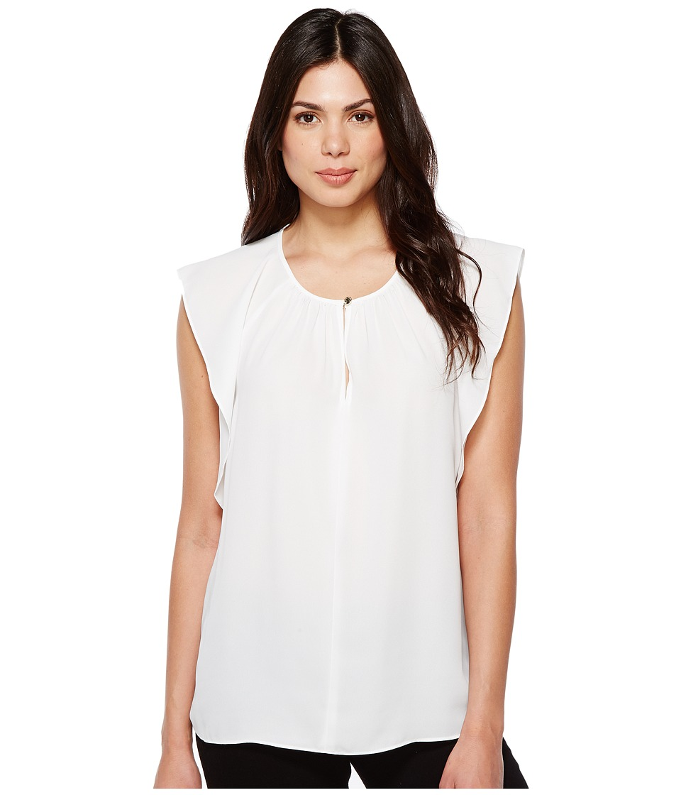 Vince Camuto - Flutter Sleeve Keyhole Blouse (Ultra White) Women's Blouse