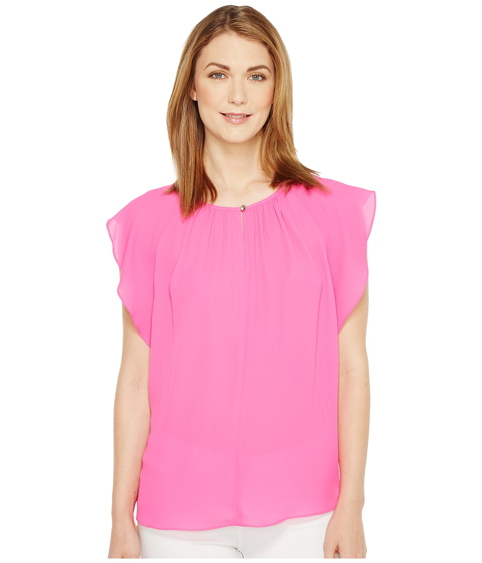 Vince Camuto - Flutter Sleeve Keyhole Blouse (Flamingo Pink) Women's Blouse