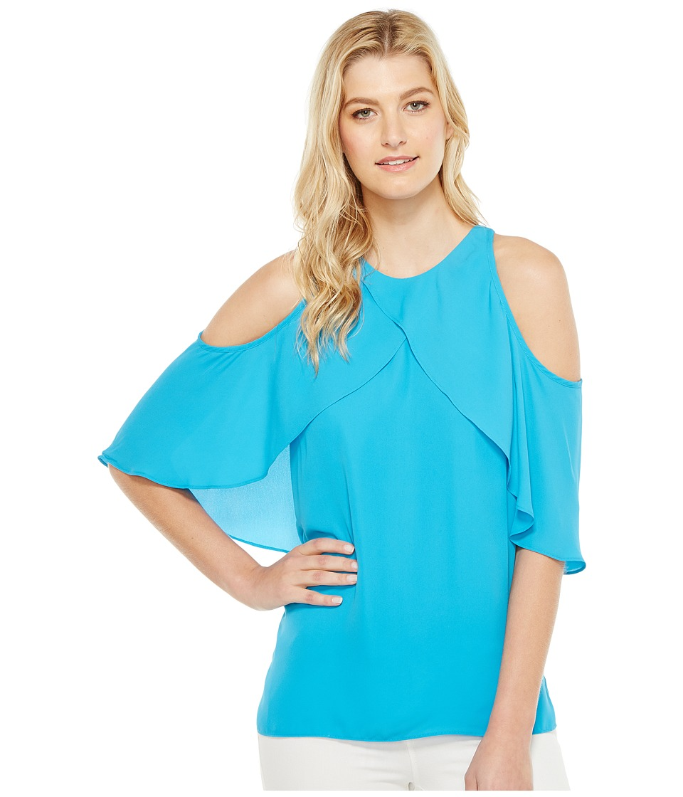 Vince Camuto - Cross Over Ruffled Cold-Shoulder Blouse (Havana Blue) Women's Blouse