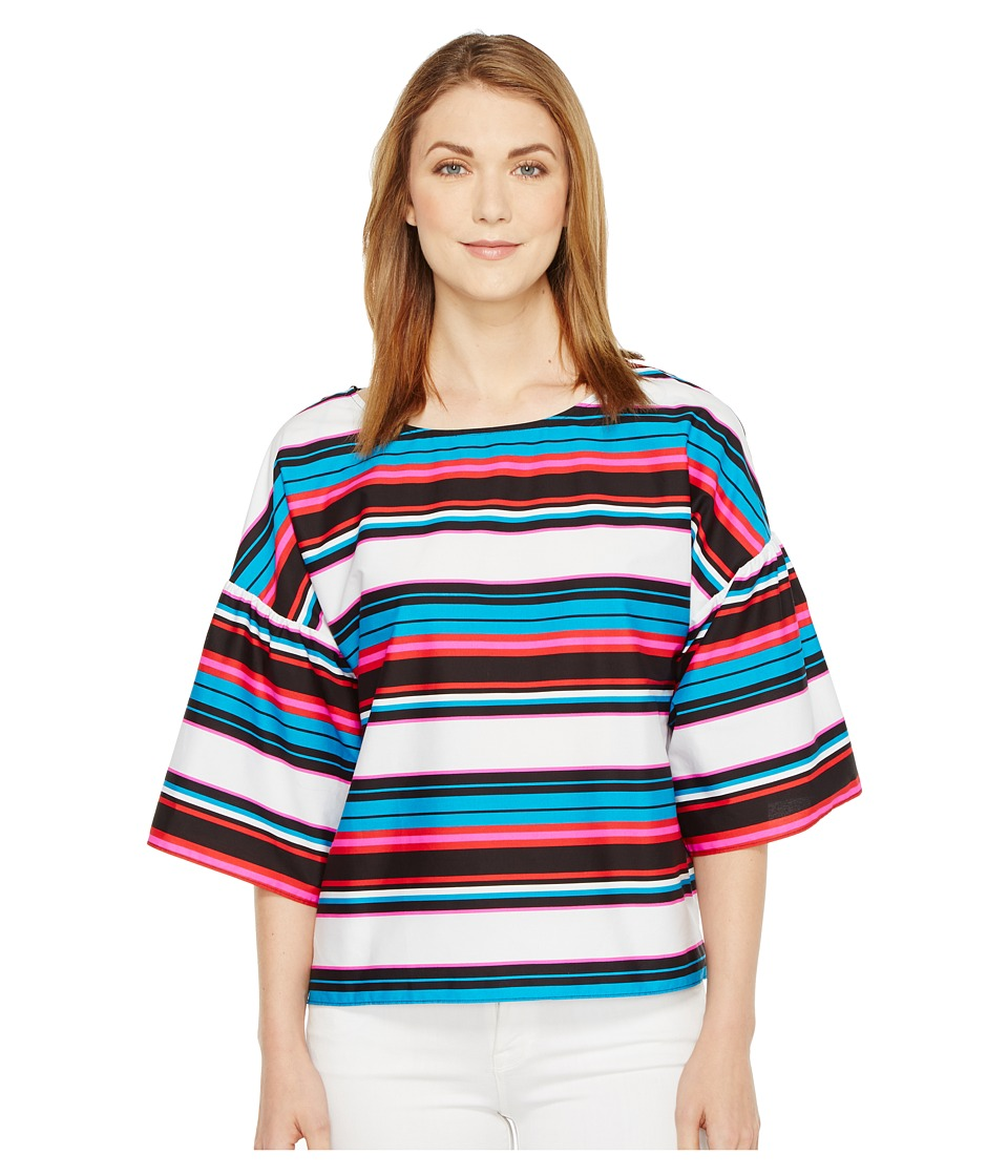 Vince Camuto - Drop Shoulder Ruffle Sleeve Del Rio Stripe Blouse (Havana Blue) Women's Blouse