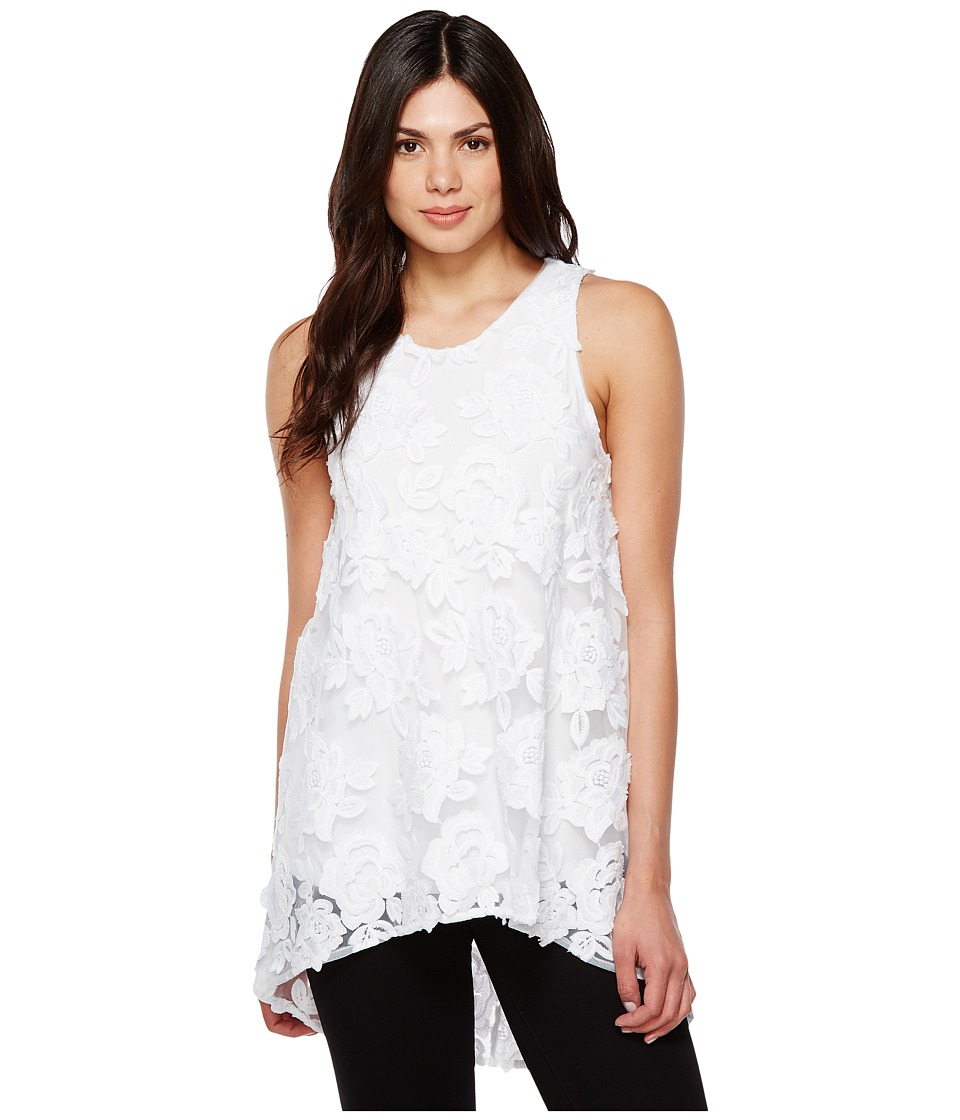 Vince Camuto - Sleeveless High-Low Hem Floral Mesh Blouse (Ultra White) Women's Blouse