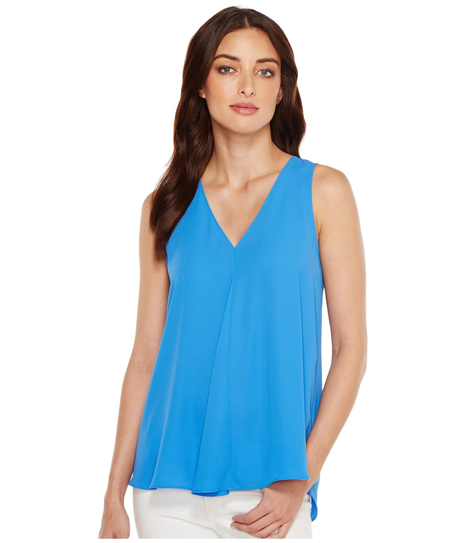 Vince Camuto - Sleeveless V-Neck Drape Front Blouse (Deep Sky) Women's Blouse